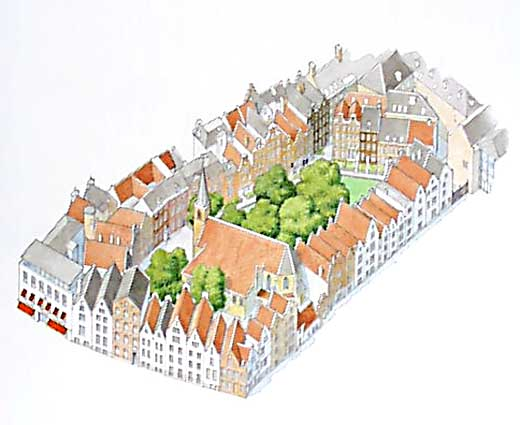 Plano del Begijnhof de Amsterdam