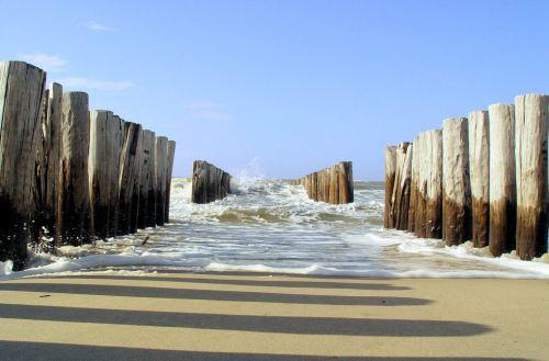 Domburg, playa, mar del norte